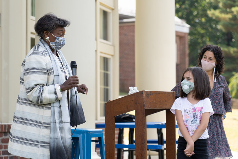 Senate Majority Leader Andrea Stewart Cousins visited Seely Place